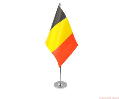 BELGIUM - DELUXE SATIN TABLE FLAG